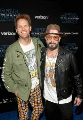 "HOLLYWOOD, CALIFORNIA - DECEMBER 16: (L-R) Mark Adler and AJ McLean arrive for the World Premiere of ""Star Wars: The Rise of Skywalker"", the highly anticipated conclusion of the Skywalker saga on December 16, 2019 in Hollywood, California. (Photo by Jesse Grant/Getty Images for Disney)"