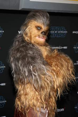 "HOLLYWOOD, CALIFORNIA - DECEMBER 16: Chewbacca arrives for the World Premiere of ""Star Wars: The Rise of Skywalker"", the highly anticipated conclusion of the Skywalker saga on December 16, 2019 in Hollywood, California. (Photo by Jesse Grant/Getty Images for Disney)"