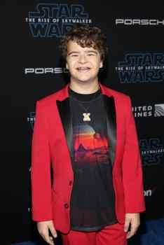"HOLLYWOOD, CALIFORNIA - DECEMBER 16: Gaten Matarazzo arrives for the World Premiere of ""Star Wars: The Rise of Skywalker"", the highly anticipated conclusion of the Skywalker saga on December 16, 2019 in Hollywood, California. (Photo by Jesse Grant/Getty Images for Disney)"
