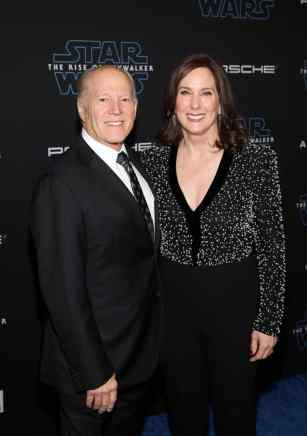 "HOLLYWOOD, CALIFORNIA - DECEMBER 16: (L-R) Frank Marshall and Producer and President of Lucasfilm Kathleen Kennedy arrive for the World Premiere of ""Star Wars: The Rise of Skywalker"", the highly anticipated conclusion of the Skywalker saga on December 16, 2019 in Hollywood, California. (Photo by Jesse Grant/Getty Images for Disney)"