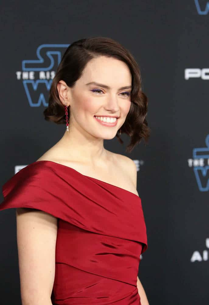 "HOLLYWOOD, CALIFORNIA - DECEMBER 16: Daisy Ridley arrives for the World Premiere of ""Star Wars: The Rise of Skywalker"", the highly anticipated conclusion of the Skywalker saga on December 16, 2019 in Hollywood, California. (Photo by Jesse Grant/Getty Images for Disney)"