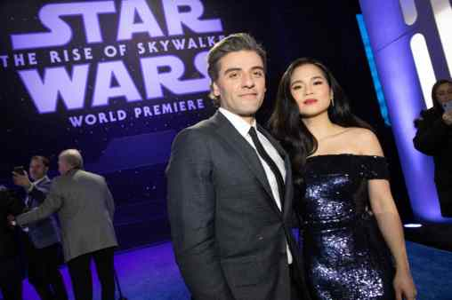 Oscar Isaac and Kelly Marie Tran arrive for the World Premiere of Star Wars: The Rise of Skywalker, the highly anticipated conclusion of the Skywalker saga, in Hollywood, CA, on December 16, 2019..(photo: Alex J. Berliner/ABImages)