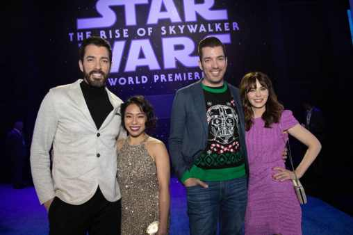 Drew Scott, Linda Phan, Jonathan Scott and Zooey Deschanel arrive for the World Premiere of Star Wars: The Rise of Skywalker, the highly anticipated conclusion of the Skywalker saga, in Hollywood, CA, on December 16, 2019..(photo: Alex J. Berliner/ABImages)