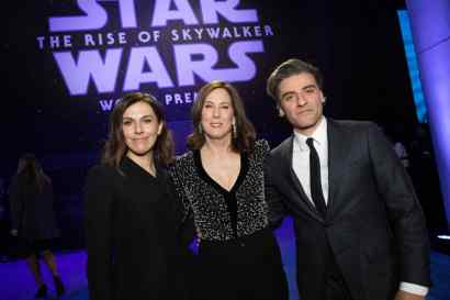 Producer Michelle Rejwan, Producer Kathleen Kennedy and Oscar Isaac arrive for the World Premiere of Star Wars: The Rise of Skywalker, the highly anticipated conclusion of the Skywalker saga, in Hollywood, CA, on December 16, 2019..(photo: Alex J. Berliner/ABImages)