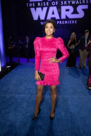 Tiya Sircar arrives for the World Premiere of Star Wars: The Rise of Skywalker, the highly anticipated conclusion of the Skywalker saga, in Hollywood, CA, on December 16, 2019..(photo: Alex J. Berliner/ABImages)