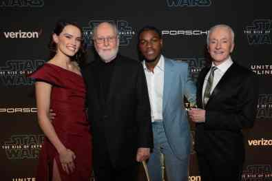 Diasy Ridley, John Williams John Boyega and Anthony Daniels arrive for the World Premiere of Star Wars: The Rise of Skywalker, the highly anticipated conclusion of the Skywalker saga, in Hollywood, CA, on December 16, 2019. (photo: Alex J. Berliner/ABImages)