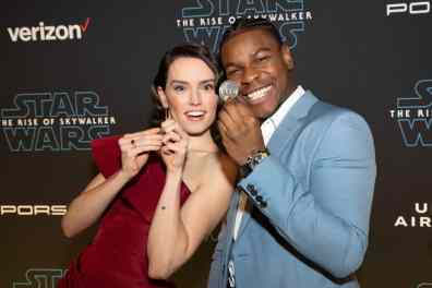Daisy Ridley and John Boyega arrive for the World Premiere of Star Wars: The Rise of Skywalker, the highly anticipated conclusion of the Skywalker saga, in Hollywood, CA, on December 16, 2019..(photo: Alex J. Berliner/ABImages)