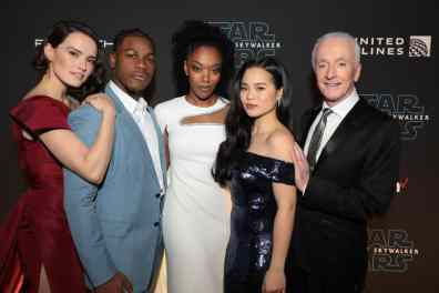 Daisy Ridley, John Boyega, Naomi Ackie, Kelly Marie Tran and Anthony Daniels arrive for the World Premiere of Star Wars: The Rise of Skywalker, the highly anticipated conclusion of the Skywalker saga, in Hollywood, CA, on December 16, 2019. (photo: Alex J. Berliner/ABImages)