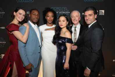 Daisy Ridley, John Boyega, Naomi Ackie, Kelly Marie Tran, Anthony Daniels and Oscar Isaac arrive for the World Premiere of Star Wars: The Rise of Skywalker, the highly anticipated conclusion of the Skywalker saga, in Hollywood, CA, on December 16, 2019. (photo: Alex J. Berliner/ABImages)