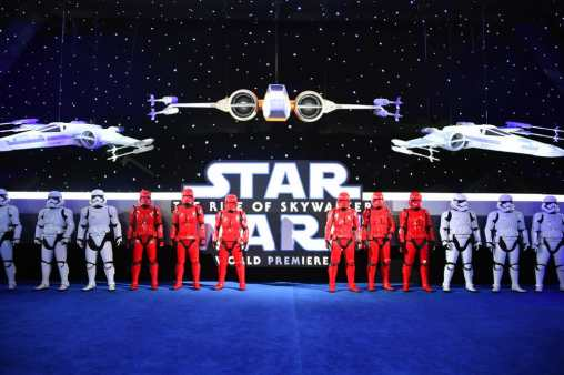"HOLLYWOOD, CALIFORNIA - DECEMBER 16: Troopers arrive for the World Premiere of ""Star Wars: The Rise of Skywalker"", the highly anticipated conclusion of the Skywalker saga on December 16, 2019 in Hollywood, California. (Photo by Amy Sussman/Getty Images for Disney)"