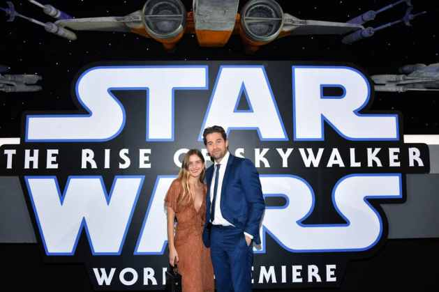 "HOLLYWOOD, CALIFORNIA - DECEMBER 16: (L-R) Lindsay Rae Hofmann and Scott Speedman arrive for the World Premiere of ""Star Wars: The Rise of Skywalker"", the highly anticipated conclusion of the Skywalker saga on December 16, 2019 in Hollywood, California. (Photo by Amy Sussman/Getty Images for Disney)"