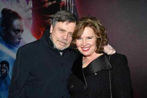 "HOLLYWOOD, CALIFORNIA - DECEMBER 16: (L-R) Mark Hamill and Marilou York arrive for the World Premiere of ""Star Wars: The Rise of Skywalker"", the highly anticipated conclusion of the Skywalker saga on December 16, 2019 in Hollywood, California. (Photo by Amy Sussman/Getty Images for Disney)"