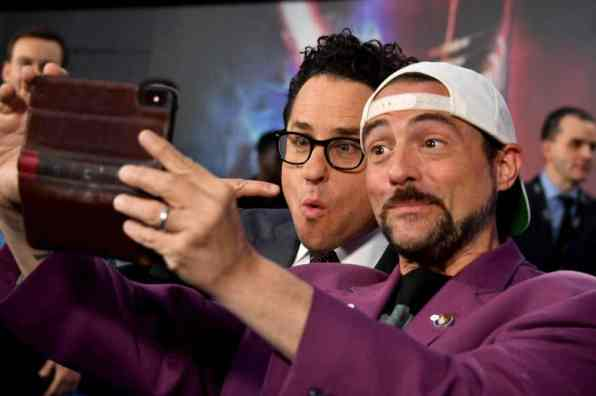 "HOLLYWOOD, CALIFORNIA - DECEMBER 16: (L-R) Director, Writer and Producer J.J. Abrams and Kevin Smith arrive for the World Premiere of ""Star Wars: The Rise of Skywalker"", the highly anticipated conclusion of the Skywalker saga on December 16, 2019 in Hollywood, California. (Photo by Amy Sussman/Getty Images for Disney)"