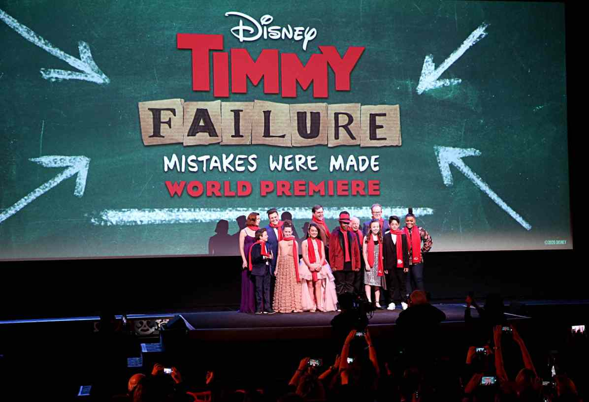 """HOLLYWOOD, CALIFORNIA - JANUARY 30: Ophelia Lovibond, Winslow Fegley, Caitlin Weierhauser, Chloe Coleman, Ai-Chan Carrier, Kyle Bornheimer, Kei, Wallace Shawn, Ruby Matenko, Director Tom McCarthy, Santiago Veizaga and Yvette Nicole Brown attend the premiere of Disney's """"Timmy Failure: Mistakes Were Made"""" at Hollywood's El Capitan Theater on January 30, 2020. """"Timmy Failure: Mistakes Were Made"""" premieres on February 7, 2020, streaming only on Disney+. (Photo by Jesse Grant/Getty Images for Disney)"""