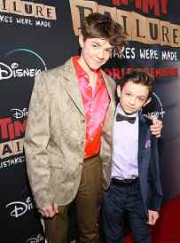 """HOLLYWOOD, CALIFORNIA - JANUARY 30: Oakes Fegley and Winslow Fegley attend the premiere of Disney's """"Timmy Failure: Mistakes Were Made"""" at Hollywood's El Capitan Theater on January 30, 2020. """"Timmy Failure: Mistakes Were Made"""" premieres on February 7, 2020, streaming only on Disney+. (Photo by Jesse Grant/Getty Images for Disney)"""