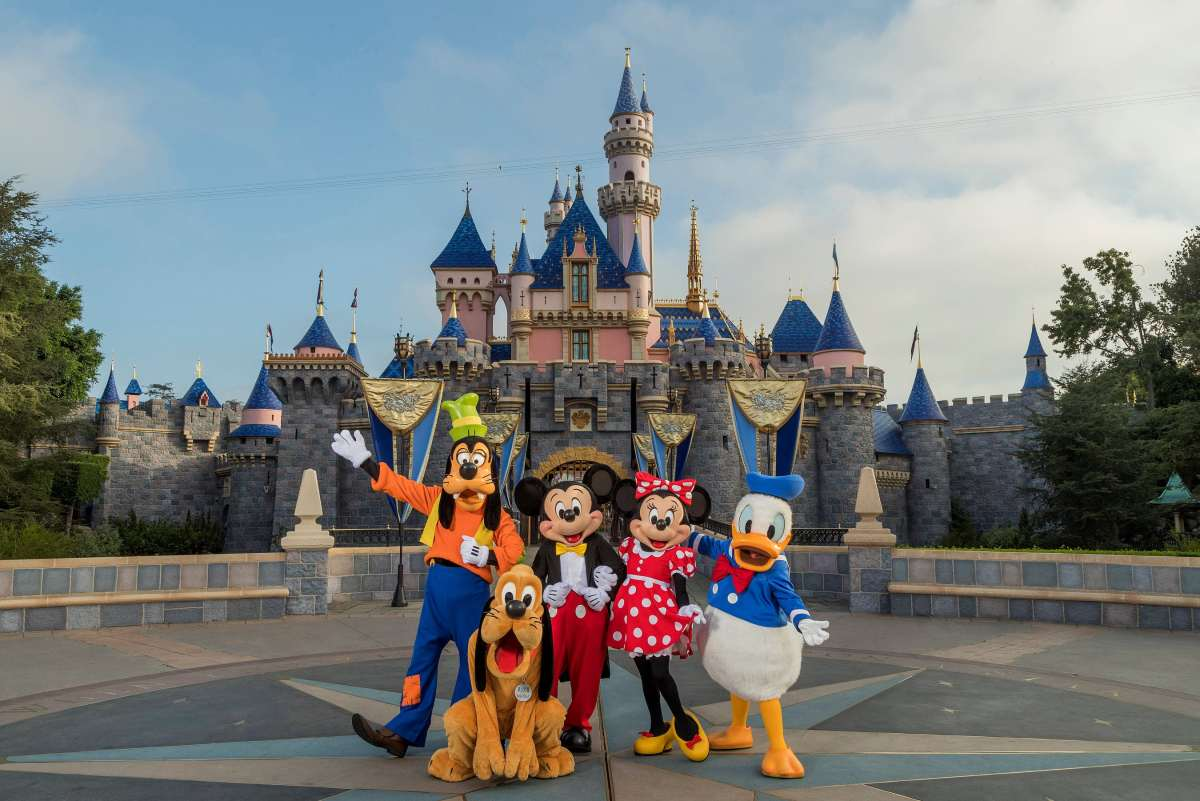 Sleeping Beauty Castle with Mickey and the gang