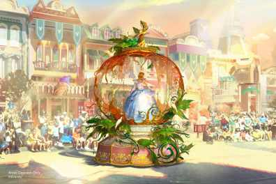 "Set to debut Feb. 28, 2020, at Disneyland Park in California, the new ""Magic Happens"" parade will celebrate the awe-inspiring moments of magic that are at the heart of so many Disney stories. This new daytime spectacular will feature stunning floats, beautiful costumes, and beloved Disney characters. Depicted in this image, Cinderella is seen inside a grand pumpkin, just as it magically transforms into a glistening carriage to whisk her off to the ball. (Disney)"