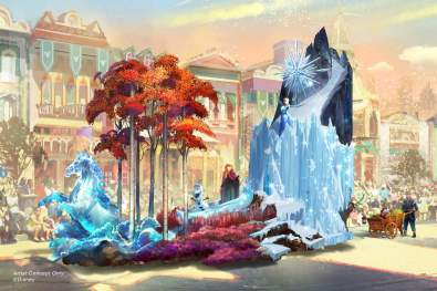 "Set to debut Feb. 28, 2020, at Disneyland Park in California, the new ""Magic Happens"" parade will come to life with an energetic musical score and a new song co-composed by singer-songwriter Todrick Hall. The parade will feature stunning floats, beautiful costumes, and beloved Disney characters. Depicted in this image, from Walt Disney Animation Studios' ""Frozen 2,"" Anna and Elsa explore the mysteries of the Enchanted Forest protected by the Nokk, the mystical water spirit, as their friends Kristoff, Sven and Olaf tag along. (Disney)"