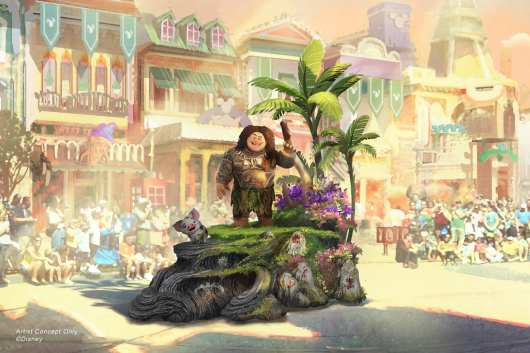 """Set to debut Feb. 28, 2020, at Disneyland Park in California, the new """"Magic Happens"""" parade will come to life with an energetic musical score and a new song co-composed by singer-songwriter Todrick Hall. The parade will feature stunning floats, beautiful costumes, and beloved Disney characters. Joining Moana on her journey is Maui, who travels along on his own magical piece of the islands with Moana's adorable pet pig, Pua. (Disney)"""