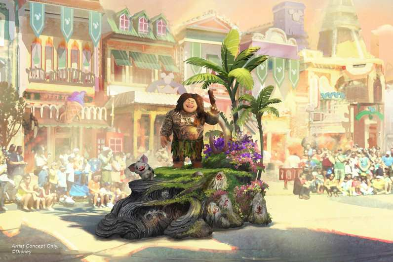 "Set to debut Feb. 28, 2020, at Disneyland Park in California, the new ""Magic Happens"" parade will come to life with an energetic musical score and a new song co-composed by singer-songwriter Todrick Hall. The parade will feature stunning floats, beautiful costumes, and beloved Disney characters. Joining Moana on her journey is Maui, who travels along on his own magical piece of the islands with Moana's adorable pet pig, Pua. (Disney)"