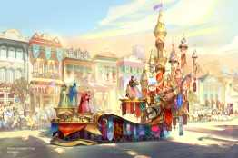 """Set to debut Feb. 28, 2020, at Disneyland Park in California, the new """"Magic Happens"""" parade will come to life with an energetic musical score and a new song co-composed by singer-songwriter Todrick Hall. The parade will feature stunning floats, beautiful costumes, and beloved Disney characters. Depicted in this image, the regal grand finale of """"Magic Happens"""" celebrates magical moments from several classic Disney stories, including the happily-ever-after scene from """"Sleeping Beauty"""" with the three good fairies and Princess Aurora, whose gown shimmers between hues of pink and blue. (Disney)"""