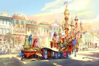 "Set to debut Feb. 28, 2020, at Disneyland Park in California, the new ""Magic Happens"" parade will come to life with an energetic musical score and a new song co-composed by singer-songwriter Todrick Hall. The parade will feature stunning floats, beautiful costumes, and beloved Disney characters. Depicted in this image, the regal grand finale of ""Magic Happens"" celebrates magical moments from several classic Disney stories, including the happily-ever-after scene from ""Sleeping Beauty"" with the three good fairies and Princess Aurora, whose gown shimmers between hues of pink and blue. (Disney)"