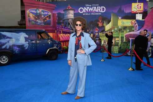 """HOLLYWOOD, CALIFORNIA - FEBRUARY 18: Writer/producer/recording artist of the end-credit song """"Carried Me With You"""", Brandi Carlile attends the world premiere of Disney and Pixar's ONWARD at the El Capitan Theatre on February 18, 2020 in Hollywood, California. (Photo by Alberto E. Rodriguez/Getty Images for Disney)"""
