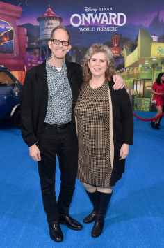 HOLLYWOOD, CALIFORNIA - FEBRUARY 18: (L-R) Executive producer Pete Docter and Amanda Docter attend the world premiere of Disney and Pixar's ONWARD at the El Capitan Theatre on February 18, 2020 in Hollywood, California. (Photo by Alberto E. Rodriguez/Getty Images for Disney)