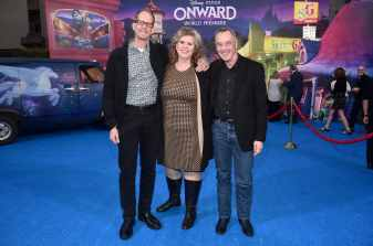 HOLLYWOOD, CALIFORNIA - FEBRUARY 18: (L-R) Executive producer Pete Docter, Amanda Docter, and President of Pixar Animation Studios Jim Morris attend the world premiere of Disney and Pixar's ONWARD at the El Capitan Theatre on February 18, 2020 in Hollywood, California. (Photo by Alberto E. Rodriguez/Getty Images for Disney)