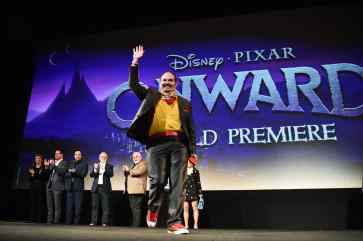 HOLLYWOOD, CALIFORNIA - FEBRUARY 18: (L-R) Tracey Ullman, Kyle Bornheimer, George Psarras, Dave Foley, John Ratzenberger, and Mel Rodriguez speak onstage at the world premiere of Disney and Pixar's ONWARD at the El Capitan Theatre on February 18, 2020 in Hollywood, California. (Photo by Alberto E. Rodriguez/Getty Images for Disney)