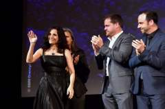 HOLLYWOOD, CALIFORNIA - FEBRUARY 18: (L-R) Julia Louis-Dreyfus, Kyle Bornheimer, and George Psarras speak onstage at the world premiere of Disney and Pixar's ONWARD at the El Capitan Theatre on February 18, 2020 in Hollywood, California. (Photo by Alberto E. Rodriguez/Getty Images for Disney)