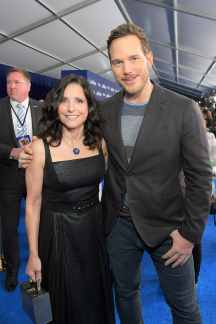 HOLLYWOOD, CALIFORNIA - FEBRUARY 18: (L-R) Julia Louis-Dreyfus and Chris Pratt attend the world premiere of Disney and Pixar's ONWARD at the El Capitan Theatre on February 18, 2020 in Hollywood, California. (Photo by Charley Gallay/Getty Images for Disney)