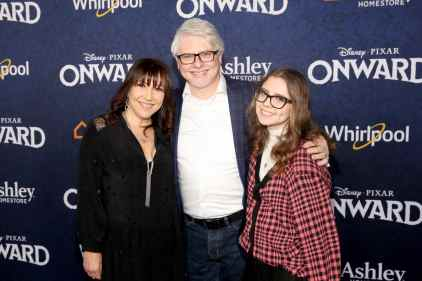 HOLLYWOOD, CALIFORNIA - FEBRUARY 18: (L-R) Crissy Guerrero, Dave Foley, and Alina Foley attend the world premiere of Disney and Pixar's ONWARD at the El Capitan Theatre on February 18, 2020 in Hollywood, California. (Photo by Jesse Grant/Getty Images for Disney)