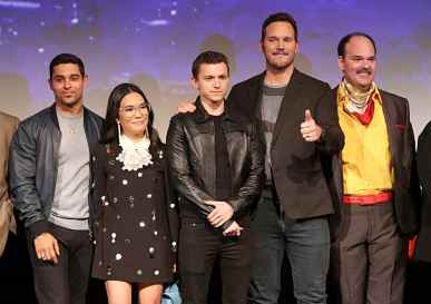 HOLLYWOOD, CALIFORNIA - FEBRUARY 18: (L-R) Wilmer Valderrama, Ali Wong, Tom Holland, Chris Pratt, and Mel Rodriguez speak onstage at the world premiere of Disney and Pixar's ONWARD at the El Capitan Theatre on February 18, 2020 in Hollywood, California. (Photo by Jesse Grant/Getty Images for Disney)