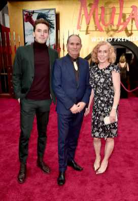 HOLLYWOOD, CALIFORNIA - MARCH 09: (L-R) Maxton Scott, David Coulson, and Norelle Scott attend the World Premiere of Disney's 'MULAN' at the Dolby Theatre on March 09, 2020 in Hollywood, California. (Photo by Alberto E. Rodriguez/Getty Images for Disney)