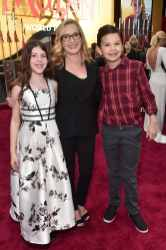 HOLLYWOOD, CALIFORNIA - MARCH 09: (L-R) Isabel Ruby Lieberstein, Angela Kinsey, and Jack Snyder attend the World Premiere of Disney's 'MULAN' at the Dolby Theatre on March 09, 2020 in Hollywood, California. (Photo by Alberto E. Rodriguez/Getty Images for Disney)