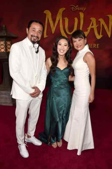 HOLLYWOOD, CALIFORNIA - MARCH 09: (L-R) Jen Kuo Sung, Xana Tang, and Lydia Look attend the World Premiere of Disney's 'MULAN' at the Dolby Theatre on March 09, 2020 in Hollywood, California. (Photo by Alberto E. Rodriguez/Getty Images for Disney)