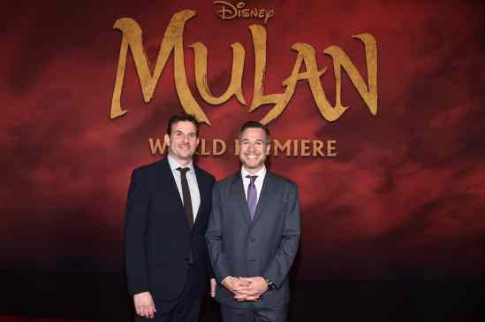 HOLLYWOOD, CALIFORNIA - MARCH 09: (L-R) Producers Chris Bender and Jake Weiner attend the World Premiere of Disney's 'MULAN' at the Dolby Theatre on March 09, 2020 in Hollywood, California. (Photo by Alberto E. Rodriguez/Getty Images for Disney)