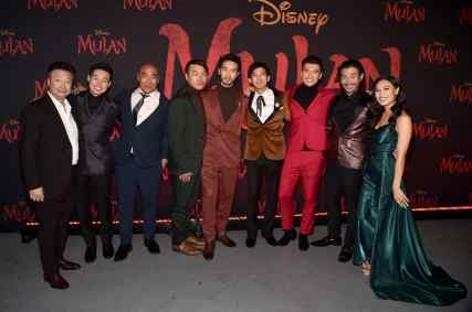 HOLLYWOOD, CALIFORNIA - MARCH 09: (L-R) Tzi Ma, Jun Yu, Ron Yuan, Doua Moua, Yoson An, Jimmy Wong, Chen Tang, Nelson Lee, and Xana Tang attend the World Premiere of Disney's 'MULAN' at the Dolby Theatre on March 09, 2020 in Hollywood, California. (Photo by Alberto E. Rodriguez/Getty Images for Disney)