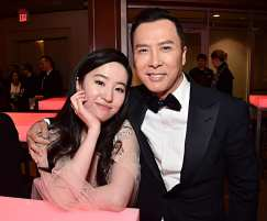 HOLLYWOOD, CALIFORNIA - MARCH 09: Yifei Liu and Donnie Yen attend the World Premiere of Disney's 'MULAN' at the Dolby Theatre on March 09, 2020 in Hollywood, California. (Photo by Alberto E. Rodriguez/Getty Images for Disney)