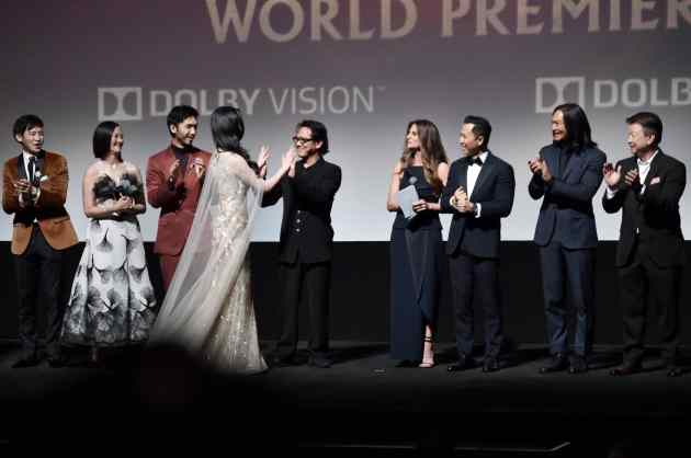 HOLLYWOOD, CALIFORNIA - MARCH 09: (L-R) Jimmy Wong, Rosalind Chao, Yoson An, Jet Li, Yifei Liu, Director Niki Caro, Donnie Yen, Jason Scott Lee, and Tzi Ma speak onstage during the World Premiere of Disney's 'MULAN' at the Dolby Theatre on March 09, 2020 in Hollywood, California. (Photo by Alberto E. Rodriguez/Getty Images for Disney)