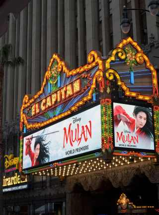 HOLLYWOOD, CALIFORNIA - MARCH 09: View of the marquee at the World Premiere of Disney's 'MULAN' at the Dolby Theatre on March 09, 2020 in Hollywood, California. (Photo by Charley Gallay/Getty Images for Disney)