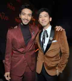 HOLLYWOOD, CALIFORNIA - MARCH 09: (L-R) Yoson An and Jimmy Wong attend the World Premiere of Disney's 'MULAN' at the Dolby Theatre on March 09, 2020 in Hollywood, California. (Photo by Charley Gallay/Getty Images for Disney)