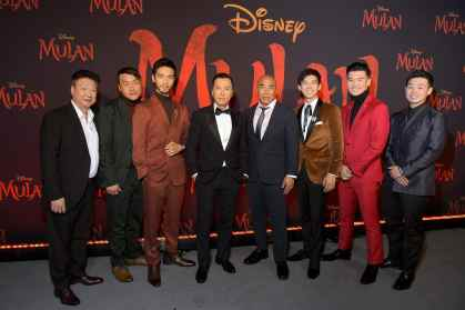 HOLLYWOOD, CALIFORNIA - MARCH 09: (L-R) Tzi Ma, Doua Moua, Yoson An, Donnie Yen, Ron Yuan, Jimmy Wong, Chen Tang, and Jun Yu attend the World Premiere of Disney's 'MULAN' at the Dolby Theatre on March 09, 2020 in Hollywood, California. (Photo by Charley Gallay/Getty Images for Disney)