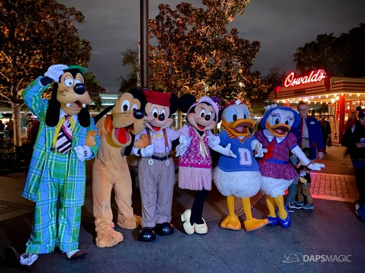 Characters say goodbye as guests leave Disney California Adventure on the Disneyland Resort's Last Day Open in 2020
