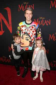HOLLYWOOD, CALIFORNIA - MARCH 09: (L-R) Mario Armando Lavandeira III, Perez Hilton, and Mia Alma Lavandeira attend the World Premiere of Disney's 'MULAN' at the Dolby Theatre on March 09, 2020 in Hollywood, California. (Photo by Jesse Grant/Getty Images for Disney)