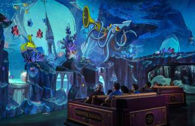 """Guests travel underwater as part of their journey through the vibrant world of """"Mickey Mouse"""" cartoon shorts in Mickey & Minnie's Runaway Railway, the family friendly new attraction opening March 4, 2020, in Disney's Hollywood Studios at Walt Disney World Resort in Lake Buena Vista, Fla. (Kent Phillips, photographer)"""