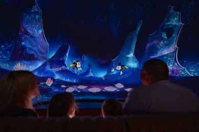 """Guests follow Mickey Mouse and Minnie Mouse underwater as part of their journey through the vibrant world of """"Mickey Mouse"""" cartoon shorts in Mickey & Minnie's Runaway Railway, the family friendly new attraction opening March 4, 2020, in Disney's Hollywood Studios at Walt Disney World Resort in Lake Buena Vista, Fla. (Matt Stroshane, photographer)"""