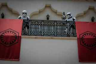 First Order Stormtroopers appear at Disney Springs at Walt Disney World Resort in Lake Buena Vista, Fla., May 27, 2020. Searching for members of the Resistance, Stormtroopers may be seen stationed on certain balconies in the shopping and dining complex. (Olga Thompson, photographer)