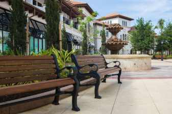 A water fountain is part of the decor in Town Center of Disney Springs at Walt Disney World Resort in Lake Buena Vista, Fla. (Disney)